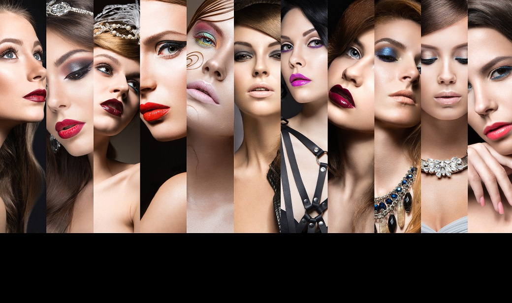 Collection of evening makeup. Beautiful girls. Beauty face.
