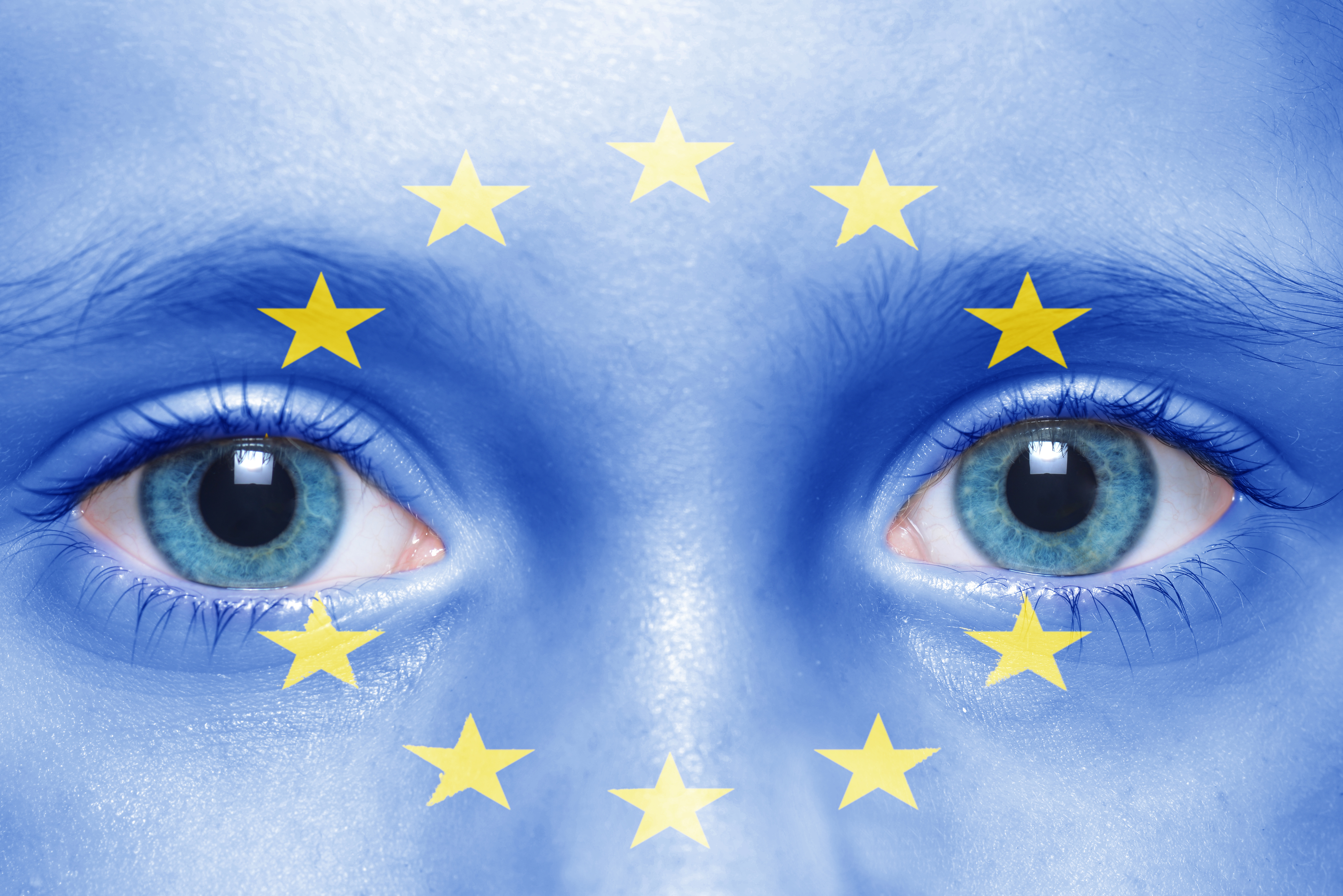 child's face with european union flag