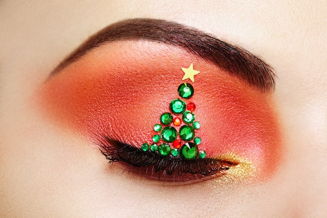 glitter eyelid christmas make up the word boutique